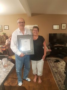 Jaime Pacheco receiving the Royal LePage Director's Platinum Award for sales in 2017